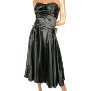 Extraordinary 1950s Black Silk Charmeuse  Dress Small