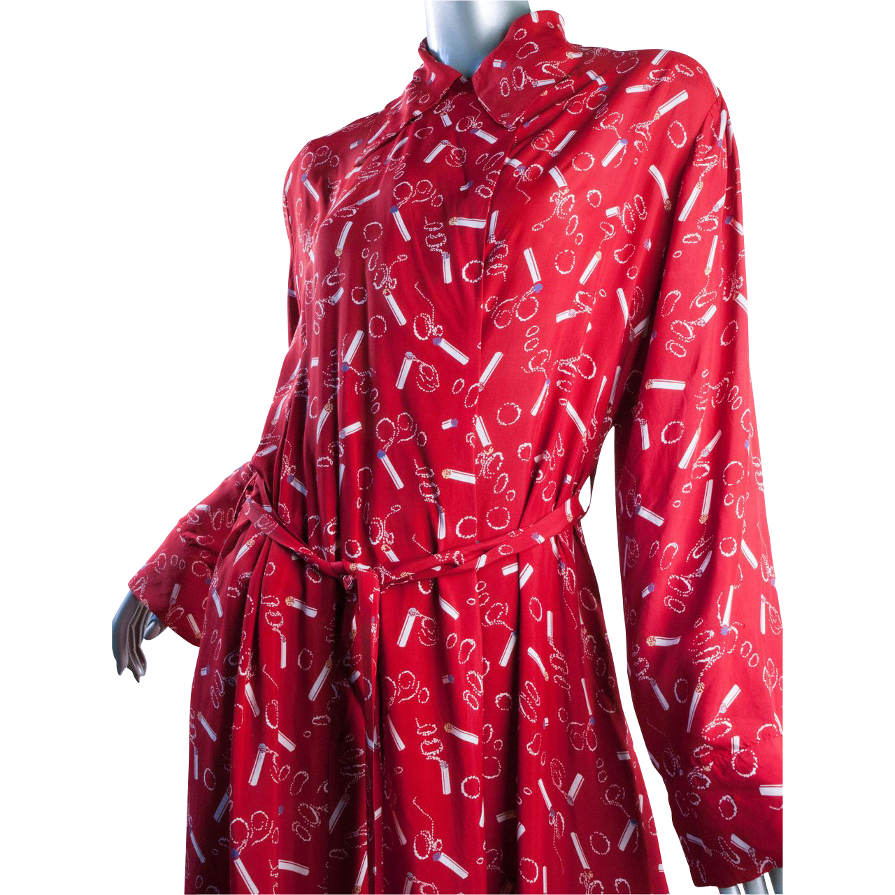 1940s Rayon Dress Smoking Cigarette Fab Red Great Size