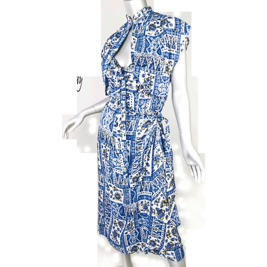1940s Elsie Krassas Hawaiian Rayon Dress and Jacket