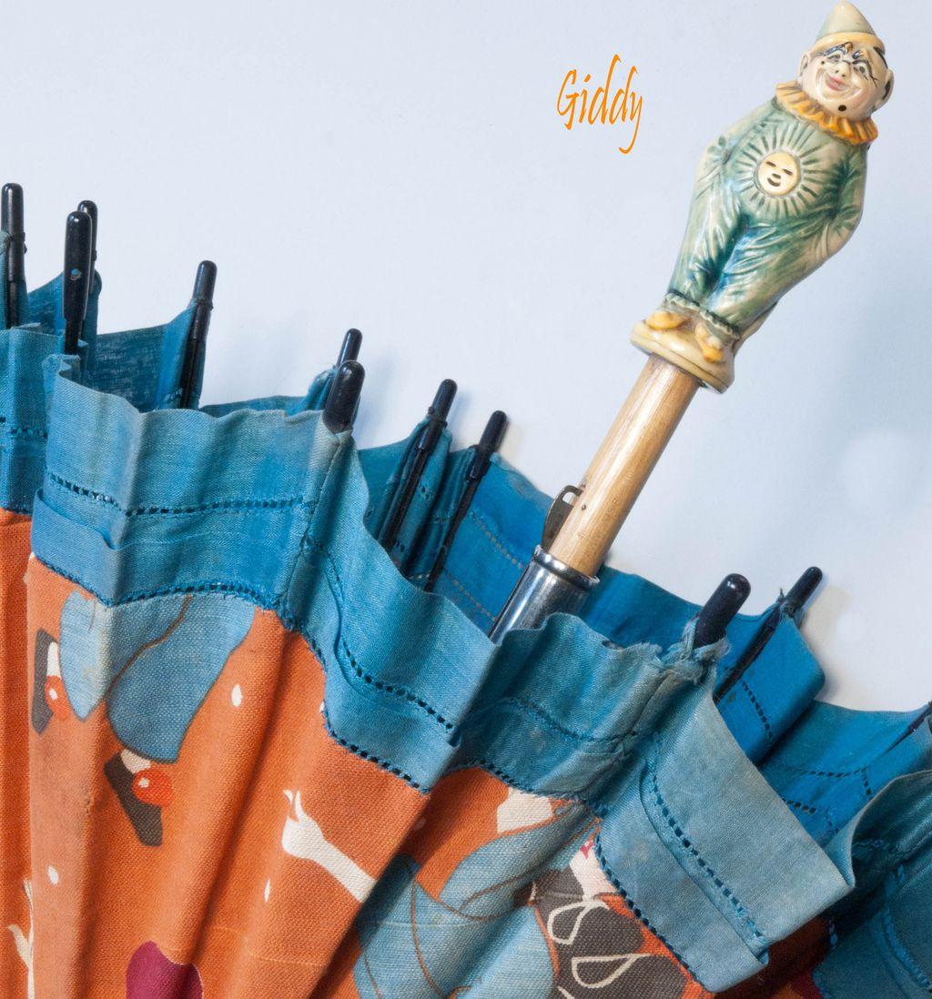Antique French Celluloid Pierrot  Parasol
