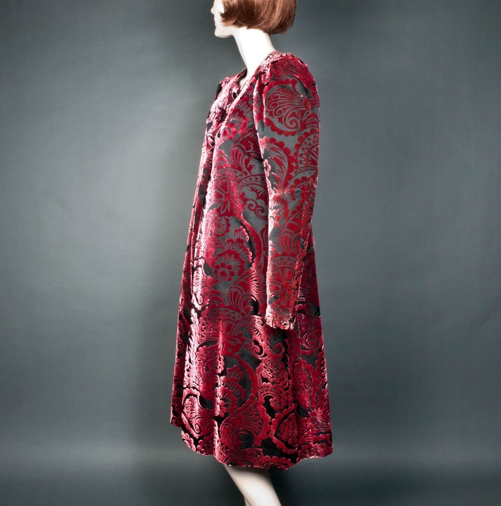 House of worth silk velvet devore coat haute couture no for House of couture