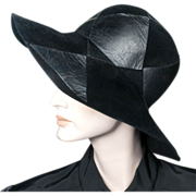 1970's Yves Saint Laurent Black Felt Leather Hat 22