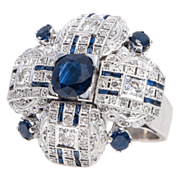 Large 18k White Gold Diamond & Sapphire Ring