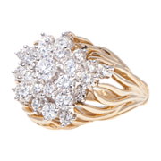 18k Gold Kwiat Diamond Cluster Ring Vintage