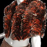 1980's Christian Dior for Saks Fifth Avenue Paris New York Feathered Bolero Jacket