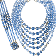 Italian Blue Crystal Necklace and Bracelet ca 1960s