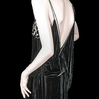 1930's Beaded Silk Chiffon Velvet Dress Julius Garfinckel & Co. Washington Paris