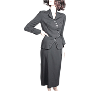 Irene 1950's Black Wool Suit Incredible Zig Zag Structure