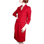 1950's Jacques Heim Red Boucle Wool  Suit I. Magnin & Co.