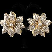 Miriam Haskell Large 1950's Earrings Rose Montees