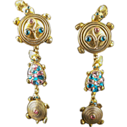 Isabel Canovas 5 Inch Gripoix Glass Earrings 1980's Gladis