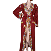 1920's Hand Embroidered Burgundy Wool Robe Exceptional