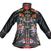 1930's Chinese Black Embroidered Jacket Handmade