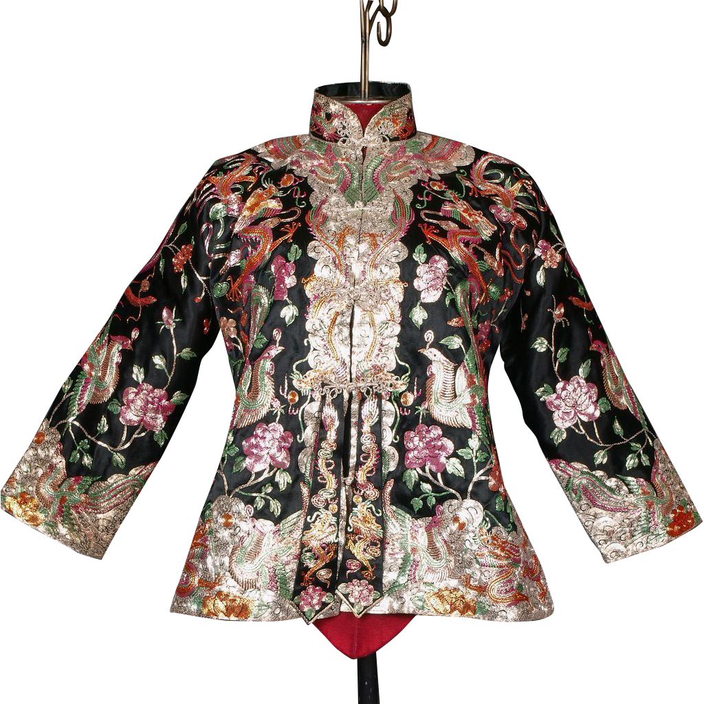 Show stopping s chinese embroidered jacket dragons
