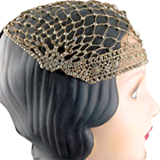 1920's Flapper Rhinestone Metallic Gold Crocheted Evening Cap