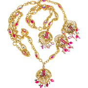 Vintage Hobe Necklace Bracelet Earrings Parure ca 1960