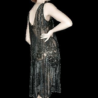 1920's Black Beaded Sequin Flapper Dress