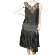 1920's Beaded Flapper Dress Mixed Lace Size Large