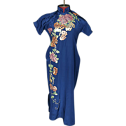 1940's Chinese Hand Tailored Silk Dress Embroidered Couching Petite