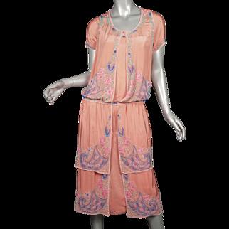 1920s Beaded Silk Flapper Dress Superb