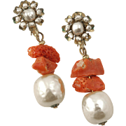 Miriam Haskell Earrings Faux Baroque Pearl and Faux Coral