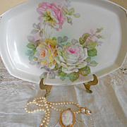 Romantic Rose Covered Porcelain Vanity Tray