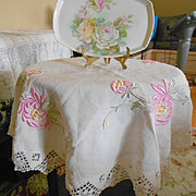 Beautiful Linen Embroidered Table Cover