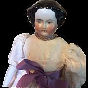 "Antique China Head Doll -11"" Tall"