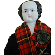 Antique China Head Doll in Scottish Dress