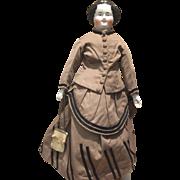 "Antique Civil War China Head Doll-20"" Tall"