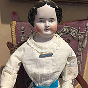 Antique China Head Doll with Vintage Clothes -28""