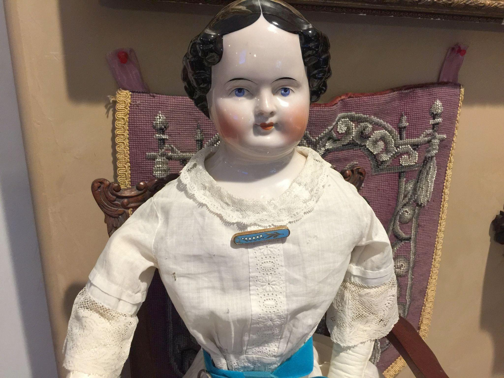 """Antique China Head Doll with Vintage Clothes -28"""""""