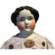 """Adorable Antique Large China Head Doll-31"""" tall"""