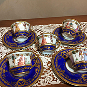 Demitasse Dresden Set of 4 by A. Lamm -RARE!!! On Sale!!!