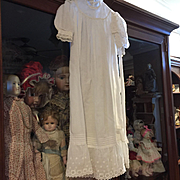 Antique Dress & Bonnet with Embroidered Roses