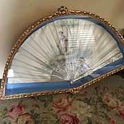Antique Silk Watercolor Fan in Mount