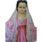 "31"" Antique PaperMache Doll- Beautiful, Big Bargain!!!"