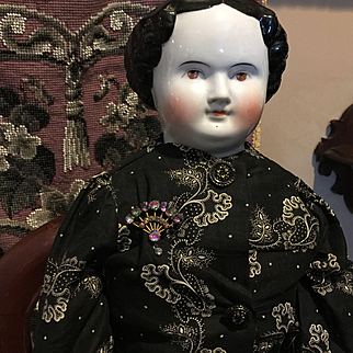 """26"""" Antique Brown Eyed China Head Doll"""