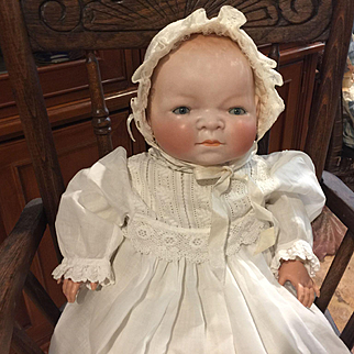 "Adorable 18"" Large Bye-Lo Bisque Head Baby"