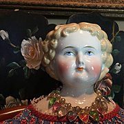 Beautiful Blonde Unusual Antique China Head Doll