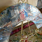 Exquisite Antique Dual Sided Watercolored Fan!