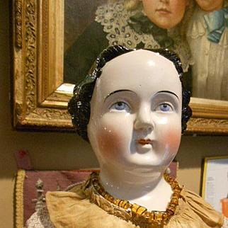 "Huge 32"" Early Kestner China head Doll With Civil War Dress!!!"