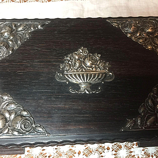 Gorgeous Ebony Color Wood and Silver Jewel Box