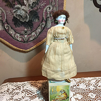 "9"" German Bisque Petite Biedermeier Doll"