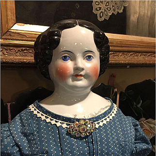 "Huge Antique China Head Doll-34"" Tall"