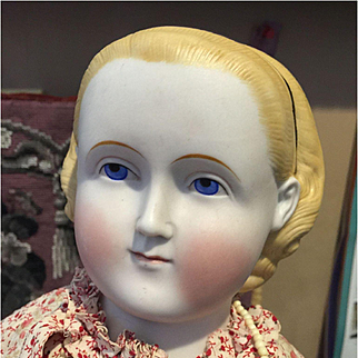 """Huge Antique Parian Bisque Alice Doll-27""""tall"""