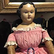 "Huge Antique Paper Mache Doll-34"" Tall"