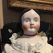 "Large Kestner Covered Wagon Pink Tint China Head Doll -31"" Tall"