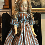 "Lovely Large Antique Wax Over Paper maché Doll-28"" Tall"