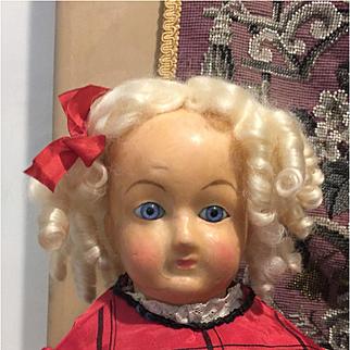 """22"""" Antique Wax Over Paper Mâché Doll- Cute!"""